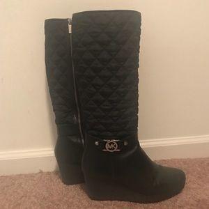 Michael Kors fleece heeled boots leather Sz 10